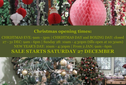 The Gardens Group - opening times Christmas and New Year