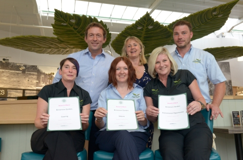 The Brimsmore Gardens team celebrate their three certificates of merit at the annual Garden Centre Association Wales & West regional awards evening. (Back row L-R: Mike Burks and Louise Burks, managing directors of The Gardens Group and Adam Wallis, manager at Brimsmore Gardens. Front row L-R: Zoey Rendall, head chef at The Apple Tree Restaurant, Cath Collins, group food manager, and Debbie Lodge, front of house manager at The Apple Tree Restaurant.