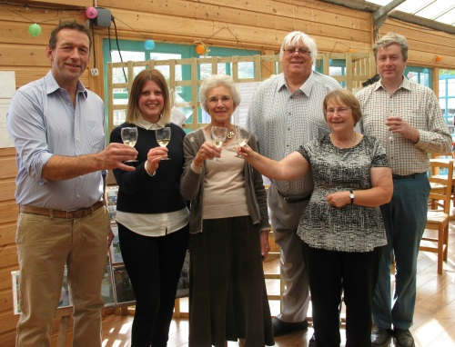 L-R Mike Burks, managing director of The Gardens Group, Amy Brice, director at Freshly Ground PR, Dr Andrea Keltey from FOLD, Christine Stevens, chair of FOLD, Eddie Trim, secretary of FOLD and Barry Watts, coordinator of The Green Shed, which is based at Castle Gardens and receives financial support from FOLD.